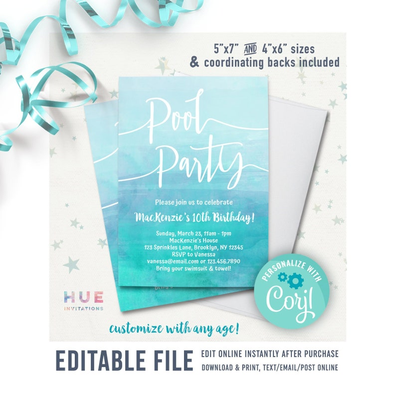 Pool Party Birthday Invitation Instant Download EDITABLE FILE