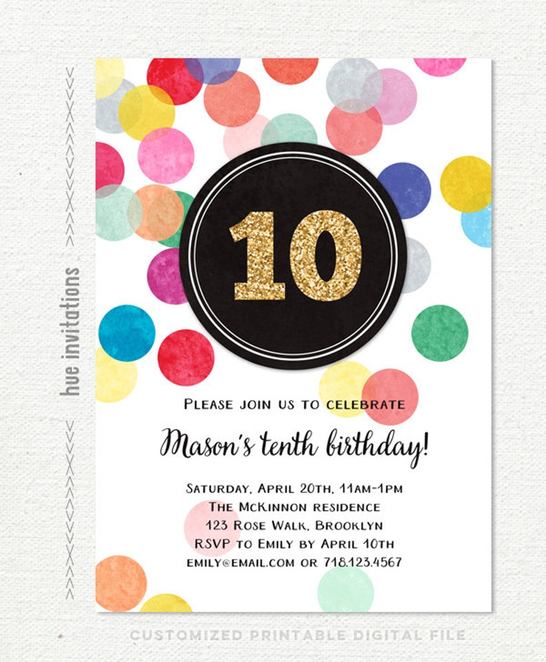 10th Birthday Party Invitation For Girl Rainbow And Gold
