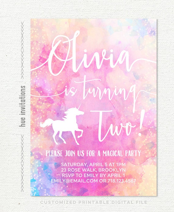 Unicorn 2nd Birthday Invitation Girls Rainbow Second