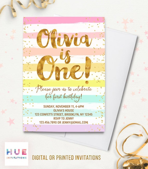 Rainbow 1st Birthday Invitation For Girl Pastel Stripes Gold