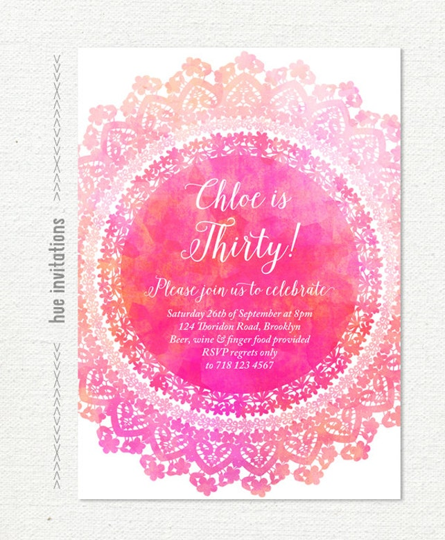 30th birthday invitation watercolor lace doily hot pink girly etsy image 0 filmwisefo