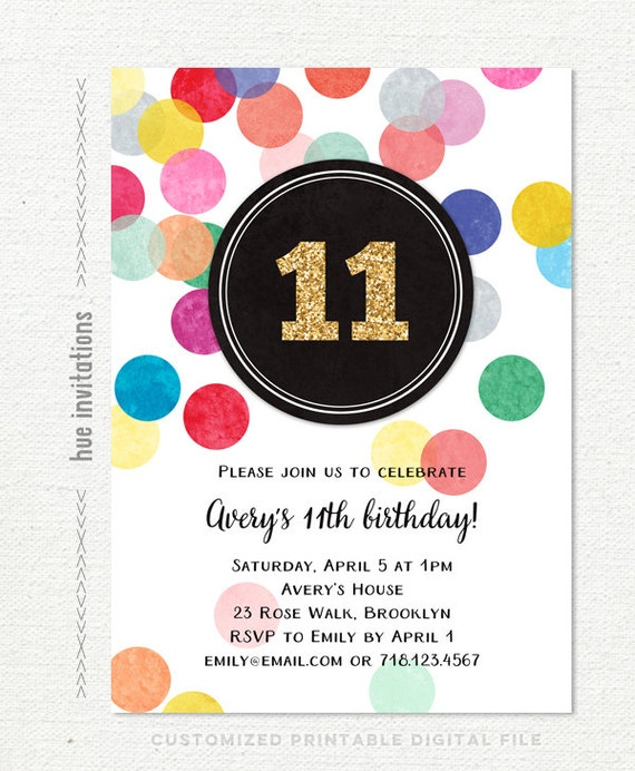 11th Birthday Party Invitations For Girls Gold Glitter Etsy