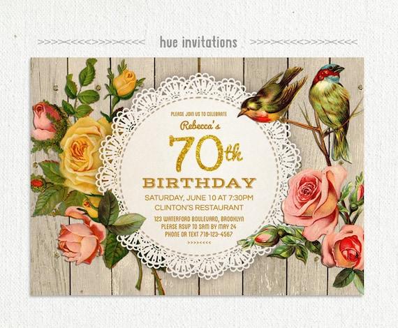 70th birthday party invitation rustic gold glitter birthday etsy