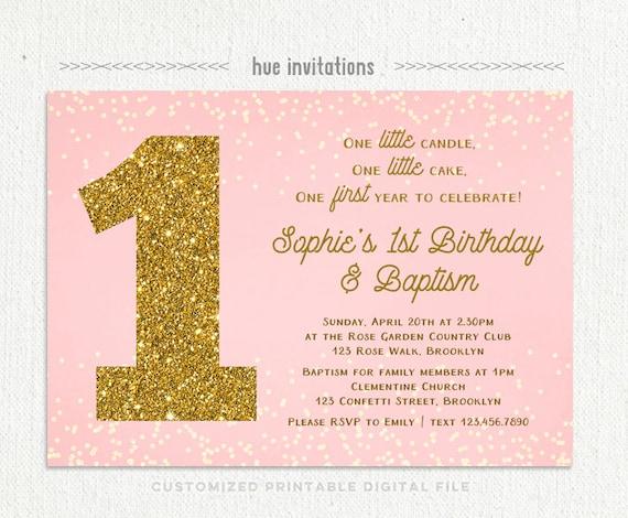 Girls Baptism 1st Birthday Invitation Blush Pink Gold Etsy