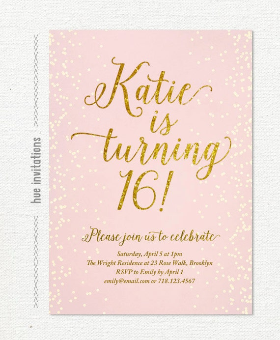 Blush Pink Gold Glitter Sweet 16 Party Invitation Teen Etsy