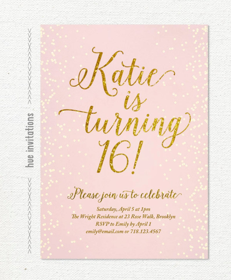 Blush Pink Gold Glitter Sweet 16 Party Invitation Teen