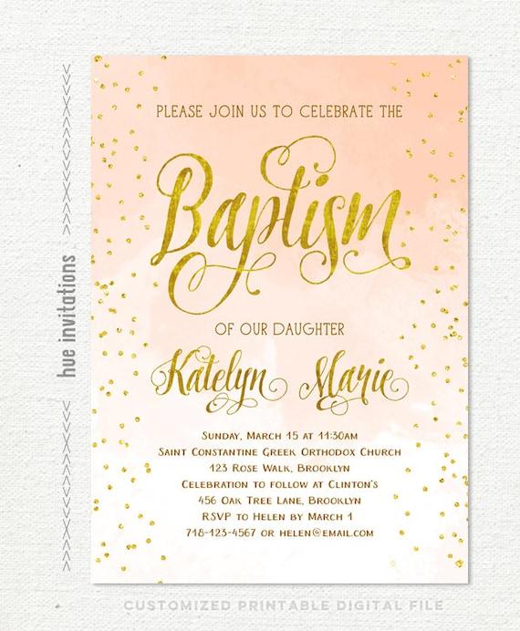 Baptism Invitation Girl Peach Gold Baptism Invitation Etsy