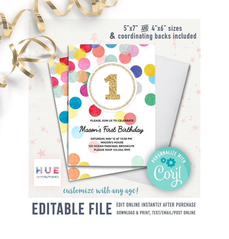 rainbow confetti 1st birthday invitation template EDITABLE FILE | instant  download simple modern first birthday invitations any age girl boy