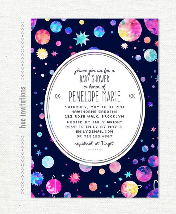 Space themed baby shower invitation modern girls baby shower etsy image 0 filmwisefo
