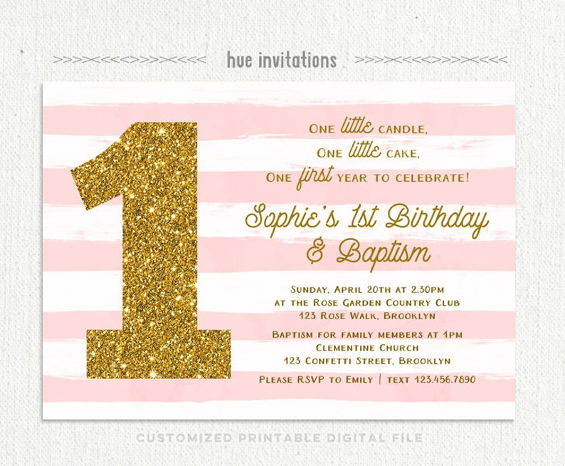 1st Birthday Baptism Invitation For Baby Girl Pink White