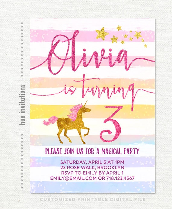 Rainbow unicorn birthday invitation girls 3rd birthday party etsy image 0 filmwisefo