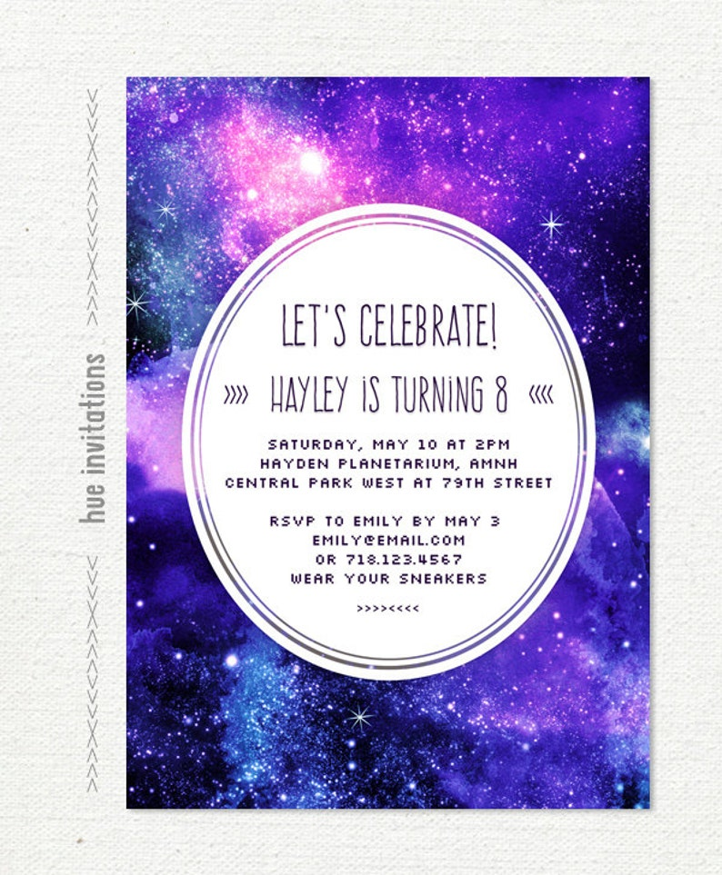 space birthday party invitation, girls blue and purple nebula galaxy stars  birthday invite, printable digital file, jpg or pdf n34