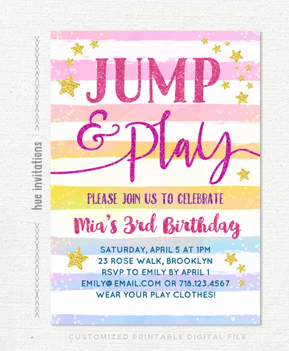 Jump Birthday Invitation Girl Bounce House 3rd Birthday Party Etsy