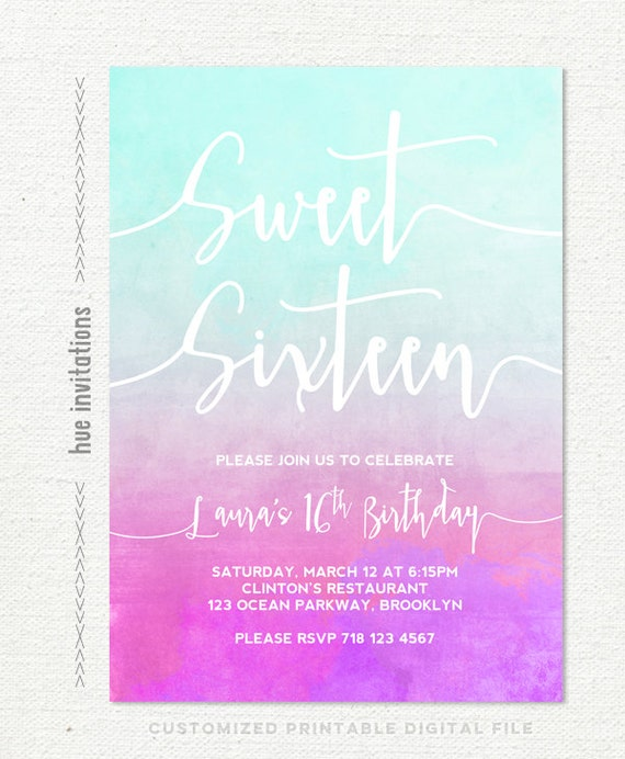 Sweet 16 Birthday Invitation Ombre Watercolor Turquoise Pink