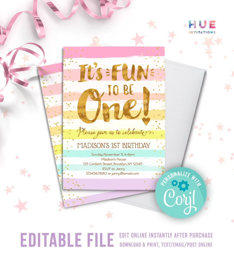 Its Fun To Be ONE Girls 1st Birthday Invitation Instant Download