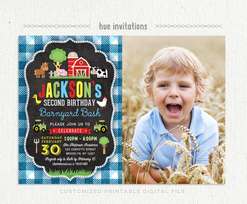Farm Birthday Invitation For Boys 2nd Barnyard
