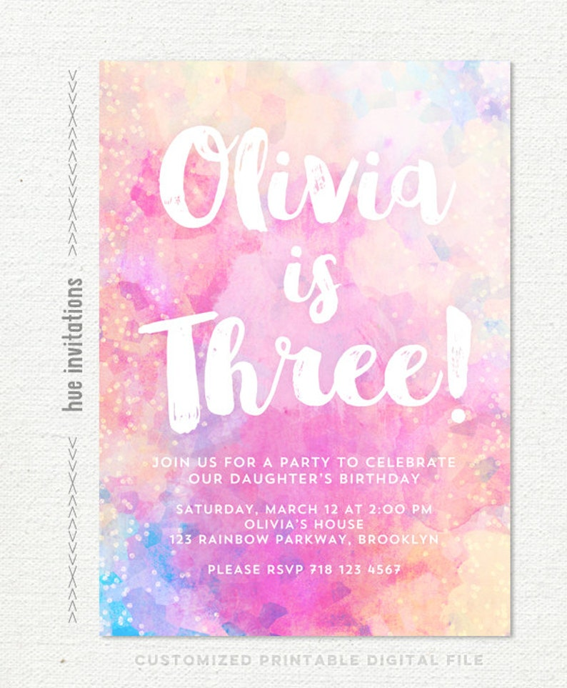3rd Birthday Invitation For Girl Pink Rainbow Party