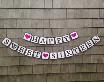 Sweet Sixteen Banner Birthday Decor Party Happy 16th Glitter
