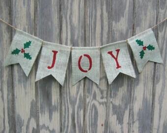 joy burlap banner joy bunting joy garland christmas banner christmas decor holiday decor burlap banner burlap garland photo prop - Burlap Christmas Banner