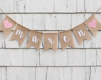 bunting name banner etsy