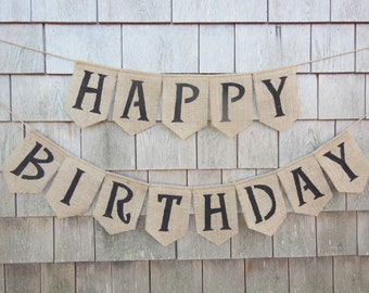 Happy Birthday Banner Burlap Garland Party Decor Bunting Celebration Rustic