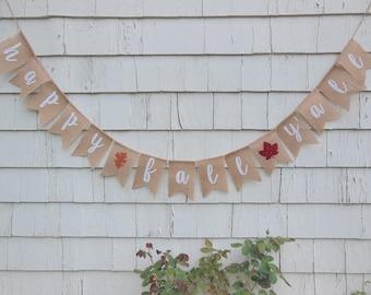 Happy Fall Y'all Burlap Banner, Happy Fall Yall Bunting, Happy Fall Y'all Garland, Rustic Fall Decor, Autumn Banner, Fall Home Decor