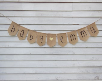 Custom Baby Shower Banner, Personalized Name Banner, Custom Name Banner, Girl Baby Shower Decor, Baby Garland, Burlap Baby Banner, Baby Sign