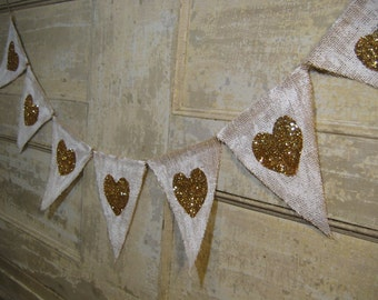 Valentines Day Banner, Heart Banner, Heart Burlap Bunting, Gold Glitter Hearts, Valentines Day Decor, Wedding Decor, Burlap Banner, Rustic