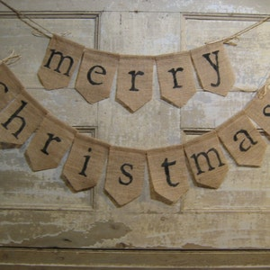 ready to ship merry christmas burlap banner merry christmas bunting christmas holiday decor burlap bunting garland rustic christmas - Merry Christmas Burlap Banner