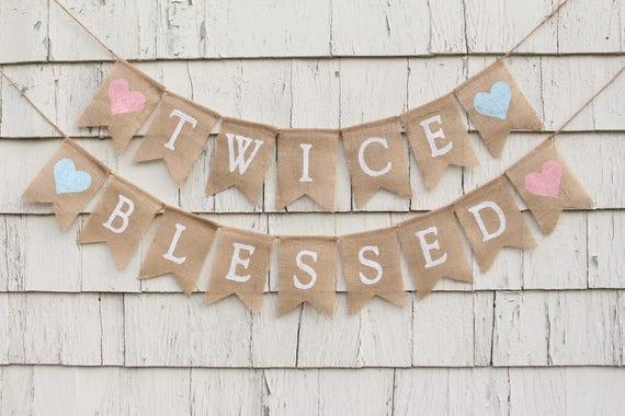 Baby Shower Decorations Twin Boy Girl twice blessed banner twins baby shower decorations twins | etsy
