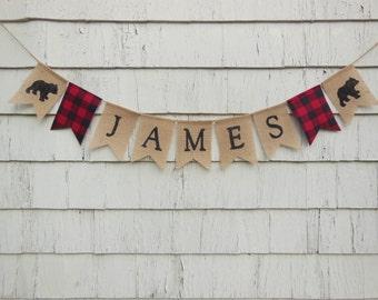 Lumberjack Nursery Decor, Lumberjack Name Banner, Custom Name Banner, Personalized Burlap Banner, Custom Name Bunting, Lumberjack Birthday