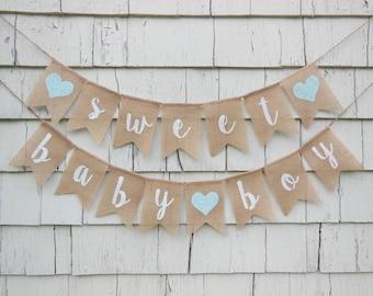 Sweet Baby Boy Banner, Rustic Baby Shower Decorations, Baby Boy Banner, Burlap Baby Shower Banner, Sweet Baby Boy, Baby Shower Bunting
