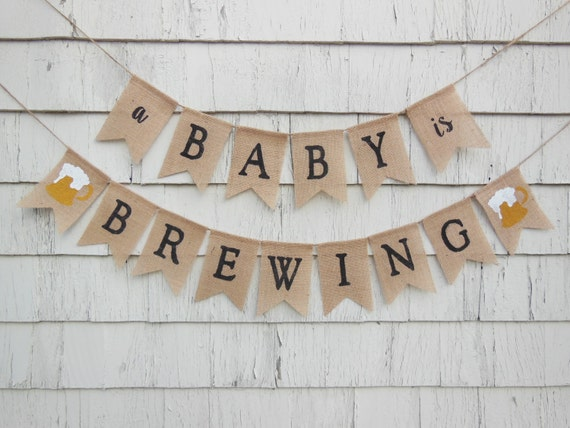 Baby is brewing,Coed Baby Shower A BABY is BREWING Burlap Banner Couples Baby Shower decor. Baby Shower party,Burlap Banting Welcome Baby