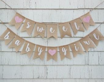 Sweet Baby Girl Banner, Baby Girl Shower Banner, Baby Girl Banner, Baby Girl Shower Decorations, Rustic Shower Decor, Pink Baby Shower