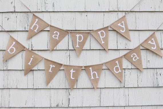 Rustic Birthday Decorations White Birthday Happy Birthday Banner Personalized Happy Birthday Bunting Happy Birthday Burlap Banner