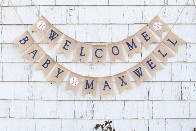 Baseball Baby Shower Decorations Welcome Baby Banner Vintage Etsy