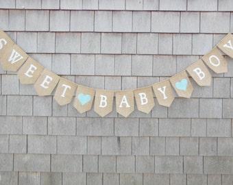 Sweet Baby Boy Banner, Baby Boy Garland, Baby Shower Decor, Baby Boy Baby Shower Bunting, Pregnancy Announcement, Burlap Banner Garland
