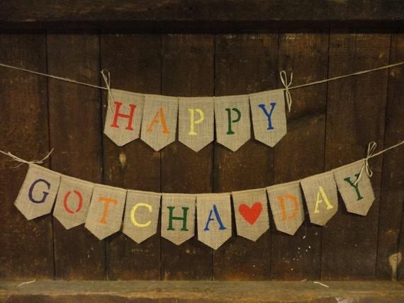 Happy Gotcha Day Banner Adoption Banner Gotcha Day Decor Etsy