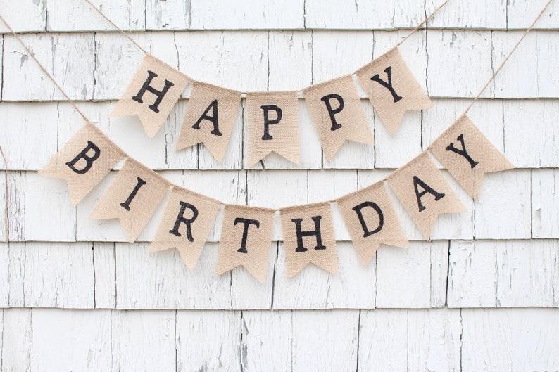 abd9871f15bb3 Custom Birthday Banner with Name Happy Birthday Burlap
