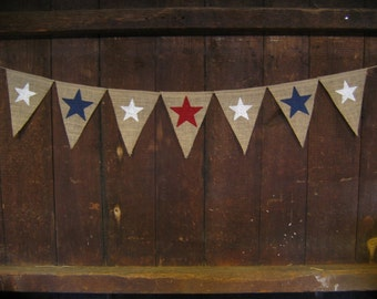 Star Banner, Patriotic Banner, Patriotic Burlap Bunting, 4th of July Banner, 4th of July Garland, Patriotic Decor, 4th of July Decor