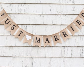 Just Married Burlap Banner, Just Married Bunting Garland, Burlap Banner, Rustic Wedding Decorations, Photo Prop, Barn Country Wedding