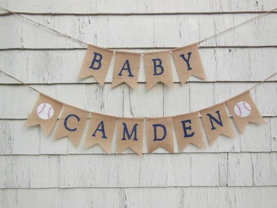 Baseball Baby Shower Decorations, Baseball Baby Banner, Custom Baby Banner, All Star Baby Shower, Vintage Baseball Shower, Personalized Name