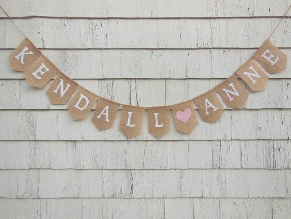 custom burlap banner personalized name banner baby girl etsy