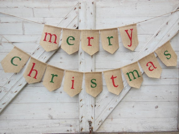 image 0 - Merry Christmas Burlap Banner