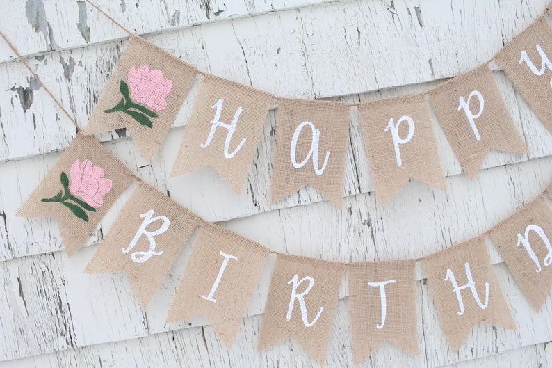Floral First Birthday Banner Custom First Birthday Banner Happy Birthday Burlap Banner Flower Party Decor Floral Boho Party Decorations
