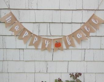 Rustic Fall Decor, Happy Fall Burlap Banner, Fall Bunting, Fall Garland, Happy Fall, Autumn Decor, Autumn Banner, Rustic Home Decor