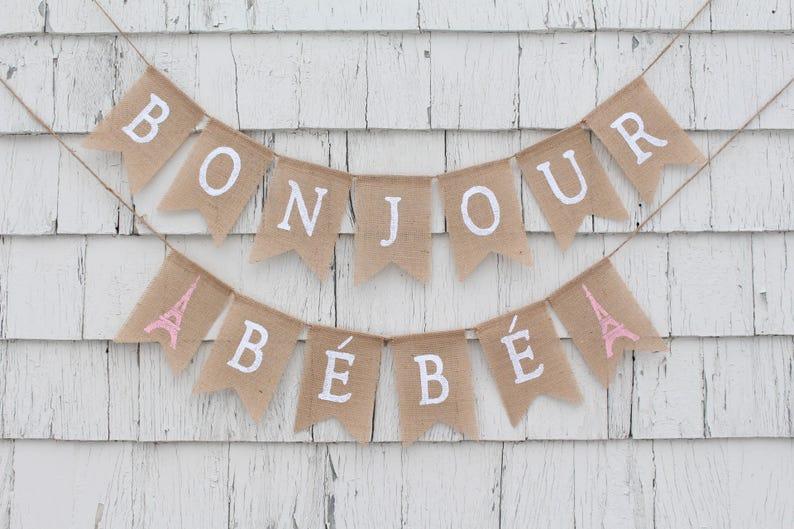 Bonjour Bebe Banner French Baby Shower Paris Theme Baby Etsy