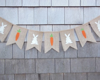 Ready To Ship, Easter Banner, Easter Decor, Easter Bunny Garland, Burlap Bunting, Rustic Easter, Photo Prop, Burlap Garland, Bunny Banner