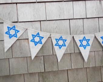 Hanukkah Banner, Hanukkah Bunting, Hanukkah Decor, Hanukkah garland, Burlap bunting, Burlap banner, Holiday Decor, Happy Hanukkah, Rustic