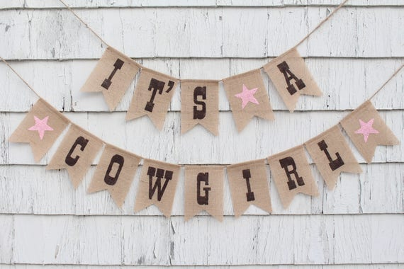 Cowgirl Baby Shower Decorations Cowgirl Banner Its A Cowgirl Horse Baby Shower Western Theme Baby Shower Banner Rustic Burlap Banner